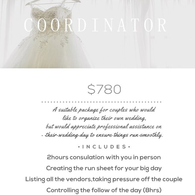 wedding planner Melbourne package 1