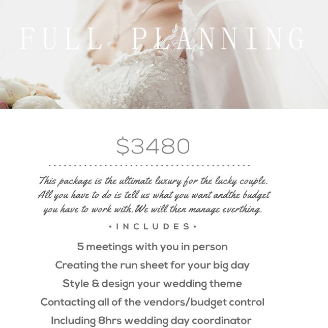 wedding planner Melbourne package 4